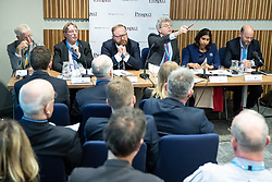 "© Licensed to London News Pictures . 01/10/2018. Birmingham, UK. Professor Alan Winters , John Howell MP , David Leighton of ABPorts , Tom Clark of Prospect , Suella Braverman MP Parliamentary Under Secretary of State for the Department for Exiting the EU and Josh Hardie of the CBI . Prospect magazine fringe event titled "" Beyond tariffs where are our opportunities to boost trade post-Brexit "" , supported by Associated British Ports . Day 2 of the Conservative Party conference at the ICC in Birmingham . Photo credit: Joel Goodman/LNP"