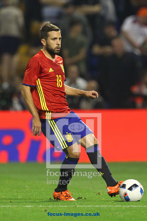 Jordi Alba of Spain in action during the International Friendly match at Estadio Jos&eacute; Rico P&eacute;rez, Alicante<br /> Picture by Paul Chesterton/Focus Images Ltd +44 7904 640267<br /> 13/11/2015