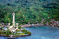 North Sulawesi, Lembeh island. Monumen Trikora is constructed in the 1970's to celebrate the success of the Indonesian military's campaign in Irian Jaya. The old DC3 aircraft that can be seen on the photo was used in the military campaign.