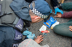 © Licensed to London News Pictures. 10/10/2019. London, UK. Police officers apply chemicals to the hands of two Extinction Rebellion protesters after they glued their hands to the road at the main entrance to London City Airport. Photo credit: Peter Manning/LNP