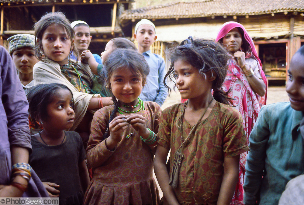Friendly Hindu children in the lowlands of Nepal, Asia, 1981. Published 2009 by the Nick Simons Foundation www.nsi.edu.np.
