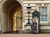 A palace guard stands in front of Buckingham Palace, London, England.