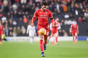Swindon Town forward Keshi Anderson (10) sprints forward with the ball during the EFL Sky Bet League 2 match between Milton Keynes Dons and Swindon Town at stadium:mk, Milton Keynes, England on 9 February 2019.