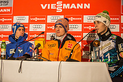 10.01.2015, Kulm, Bad Mitterndorf, AUT, FIS Ski Flug Weltcup, Siegerehrung, im Bild v.l.: Stefan Kraft (AUT), 2. Platz), Severin Freund (GER, 1. Platz), Jurij Tepes (SLO, 3. Platz) // celebrate on Podium of the FIS Ski Flying World Cup at the Kulm, Bad Mitterndorf, Austria on 2015/01/10, EXPA Pictures © 2015, PhotoCredit: EXPA/ Dominik Angerer