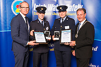 Dublin - Ireland, Tuesday 8th November 2016:<br /> Simon Coveney TD, Minister for Housing, Planning &amp; Local Government with 'Seiko Just In Time Award' recipients Gardai  Nathan Conroy and David Salmon (Kildare) and Martin O'Sullivan, Chairman of Irish Water Safety at the annual Irish Water Safety Awards held at Dublin Castle.  Photograph: David Branigan/Oceansport