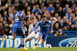 LONDON, ENGLAND - September 18: Chelsea's Oscar controls the ball during the UEFA Champions League Group E match between Chelsea from England and Basel from Switzerland played at Stamford Bridge, on September 18, 2013 in London, England. (Photo by Mitchell Gunn/ESPA)