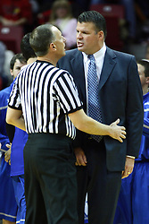 13 January 2012:  Greg McDermott gets a bit miffed at a referees call and has a chat about it with Don Daily during an NCAA Missouri Valley Conference mens basketball game where the Creighton Bluejays topped the Illinois State Redbirds 87-78 in Redbird Arena, Normal IL