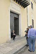 Partinico: the anti-mafia journalist Pino Maniaci and his daughter Letizia in front of Partinico city hall , Maniaci runs the tv station in Sicily TeleJato.<br /> Partinico: il giornalista antimafia Pino Maniaci con la figlia Letizia davanti al municipio della citt&agrave;; Maniaci &egrave; direttore della  emittente televisiva Telejato.