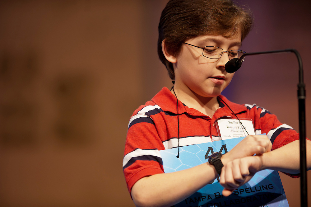 Tommy Foster, sponsored by Tampa Bay Spelling Bee Collaborative, St. Petersburg, Florida,  competes in round three of the preliminaries of the 84th annual Scripps National Spelling Bee in Maryland. There are 275 spellers from across the United States and around the world competing to advance to the semifinals on Thursday.