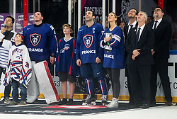 Cristobal Huet of France and Laurent Meunier of France retiring of their career after the 2017 IIHF Men's World Championship group B Ice hockey match between National Teams of France and Slovenia, on May 15, 2017 in AccorHotels Arena in Paris, France. Photo by Vid Ponikvar / Sportida