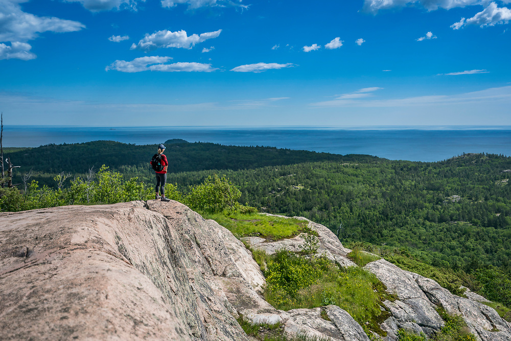 Hiking Hogback Mountain near Marquette, Michigan.