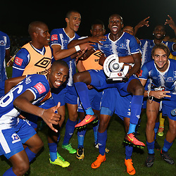 Man of the match Siphesihle Ndlovu with his team mates of  Maritzburg Utd during the Absa Premiership match between Maritzburg United and Mamelodi Sundowns at the Harry Gwala Stadium in Pietermaritzburg, South Africa. 25th April 2018 (Photo by Steve Haag)