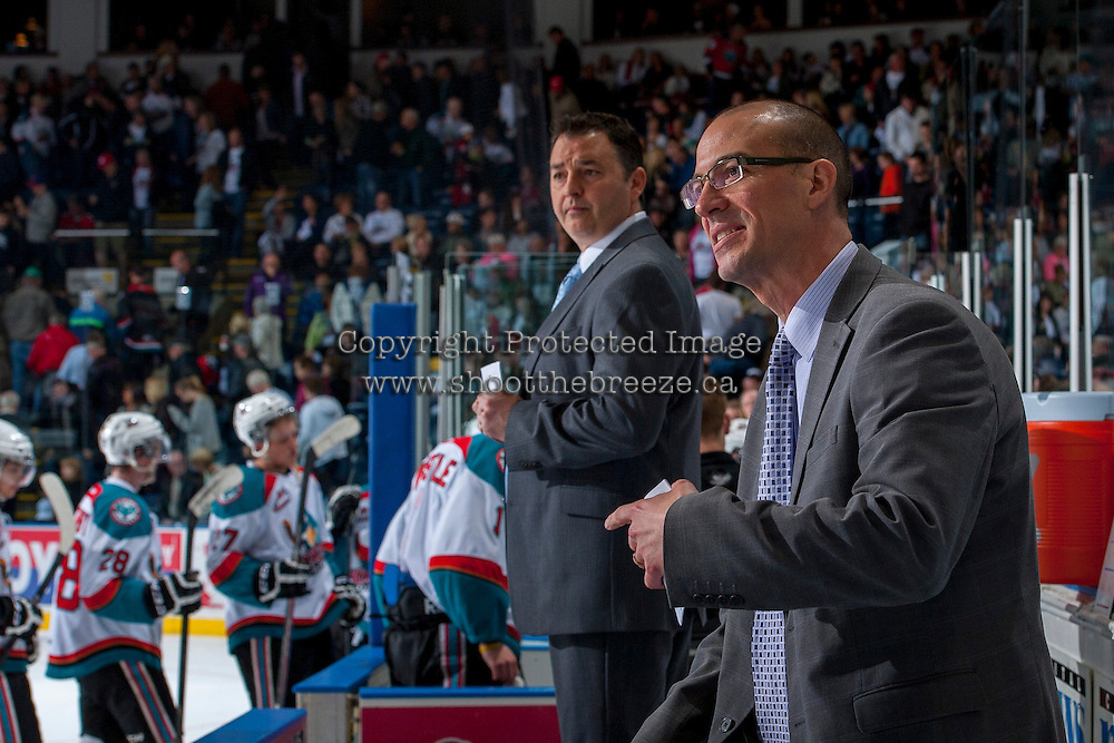KELOWNA, CANADA - APRIL 18: Ryan Huska, head coach of the # of the Kelowna Rockets speaks to referees at the end of the first period against the Portland Winterhawks on April 18, 2014 during Game 1 of the third round of WHL Playoffs at Prospera Place in Kelowna, British Columbia, Canada.   (Photo by Marissa Baecker/Shoot the Breeze)  *** Local Caption *** Ryan Huska;