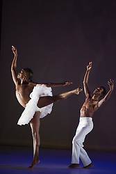 © Licensed to London News Pictures. 17/06/2014. London, England. Llewellyn Mnguni as Odile and Songezo Mcilizeli as Siegfried. Dress rehearsal of Dada Masilo - Swan Lake which is part of Sadler's Sampled, a two week taster festival of dance at low prices (standing tickets from GBP 8). Photo credit: Bettina Strenske/LNP