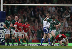 Ronan O'Gara celebrates his late drop goal that secures the Grand Slam for Ireland..RBS 6 Nations 2009, Wales v Ireland.Millennium Stadium, 21.03.09