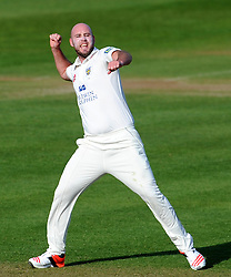 Durham's Chris Rushworth celebrates the wicket of Somerset's Johann Myburgh- Photo mandatory by-line: Harry Trump/JMP - Mobile: 07966 386802 - 13/04/15 - SPORT - CRICKET - LVCC County Championship - Day 2 - Somerset v Durham - The County Ground, Taunton, England.