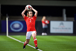MERTHYR, WALES - Thursday, February 16, 2017: Wales' Ella Powell takes a throw-in during a Women's Under-17's International Friendly match against Hungary at Penydarren Park. (Pic by Laura Malkin/Propaganda)