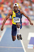 Will Claye (USA) wins the triple jump at 59-3 (18.06m) during the Meeting de Paris, Saturday, Aug. 24, 2019, in Paris. (Jiro Mochizuki/Image of Sport via AP)