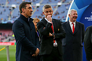 Gary Neville with Manchester United Manager Ole Gunnar Solskjaer during the Champions League quarter-final leg 2 of 2 match between Barcelona and Manchester United at Camp Nou, Barcelona, Spain on 16 April 2019.
