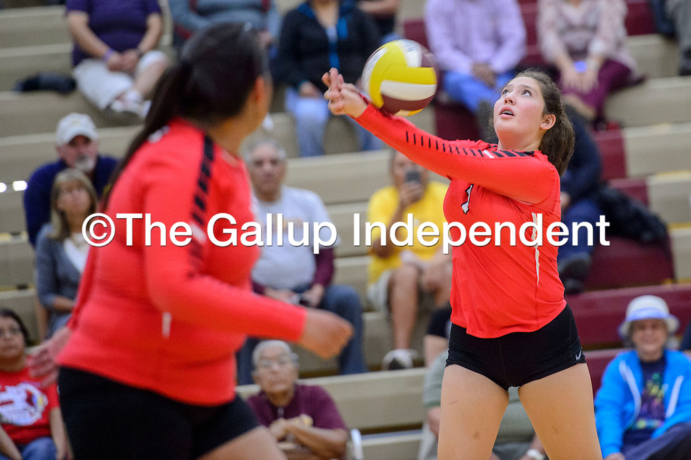 Crownpoint Eagle Candice Cowboy (7) volley's to the Rehoboth Lynx at Rehoboth High School Wednesday.