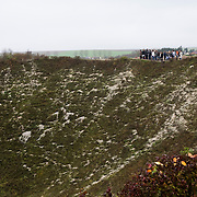 A school visit at the Lochnagar Crater, the largest manmade crater created in WWI. The mine was laid by the 179th Tunneling Company Royal Engineers and it was exploded two minutes before 7:30 (the zero hour for the british offensive) on the morning of July 1st 1916.  At the time this was the largest man made explosion ever made and there are reports that it was heard in London. In 1978 the area was purchased by Richard Dunning who decided to reserve the place and make a memorial.