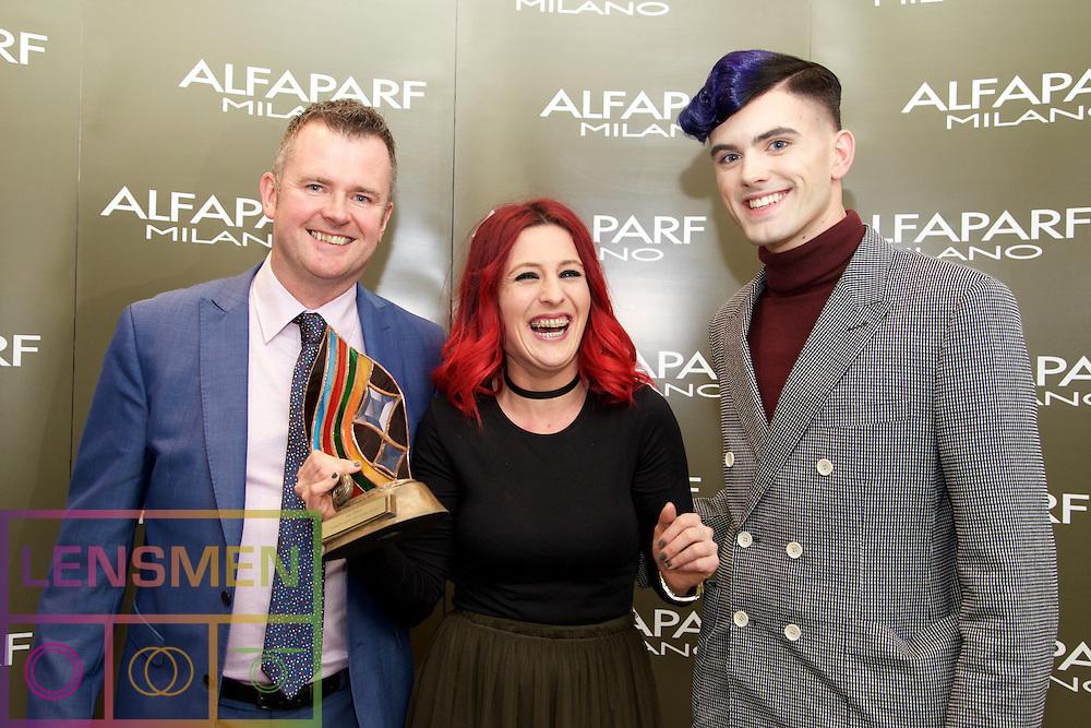 AMF Gents.<br /> <br /> Richard Barry, Alfaparf Milano Ireland<br /> Danielle Bethel, Winner, from Occasions Hair Salon, Naas<br /> Pádraig Oluasa, Model