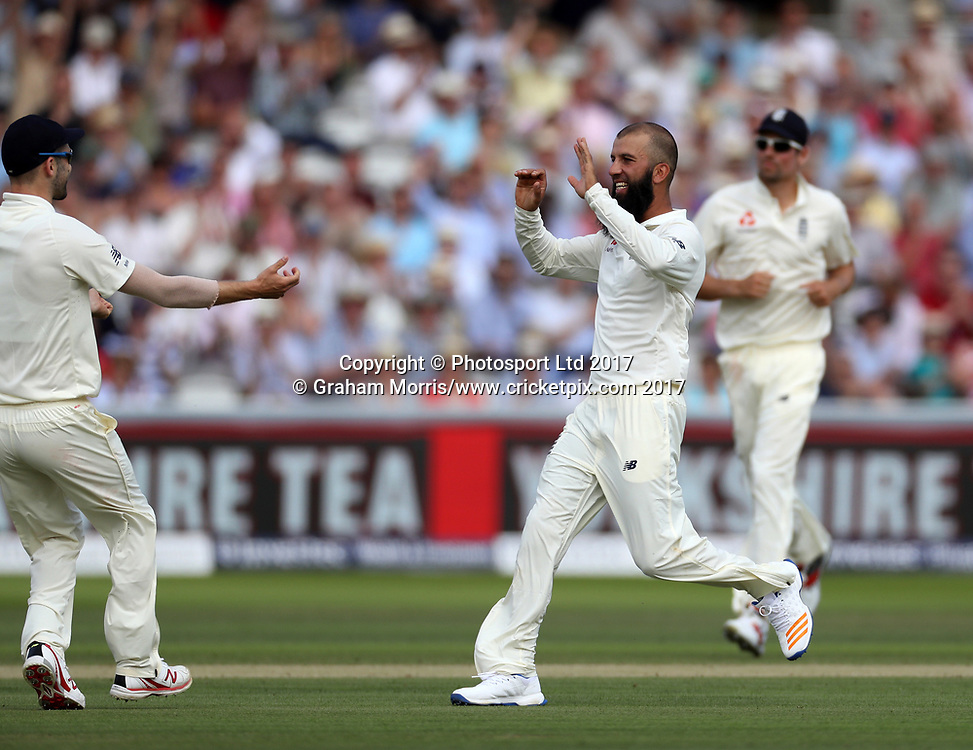Temba Bavuma is caught off the bowling of Moeen Ali (celebrating) during the 1st Investec Test Match between England and South Africa at Lord's Cricket Ground. Photo: Graham Morris/www.cricketpix.com / www.photosport.nz