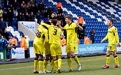 COLCHESTER, ENGLAND - Saturday, February 23, 2013: Tranmere Rovers' Cole Stockton celebrates scoring the fourth goal against Colchester United with team-mates Jean-Louis Akpa Akpro, Ash Taylor and Paul Black during the Football League One match at the Colchester Community Stadium. (Pic by Vegard Grott/Propaganda)