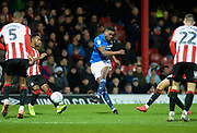 Nottingham forest player Sammy Ameobi gets a shot on goal that is saved in the first half  during the EFL Sky Bet Championship match between Brentford and Nottingham Forest at Griffin Park, London, England on 28 January 2020.