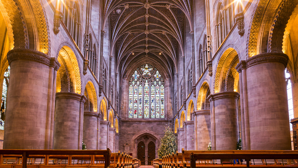 HEREFORD, UK January 03rd 2019 - Nave at Hereford Cathedral, United Kingdom