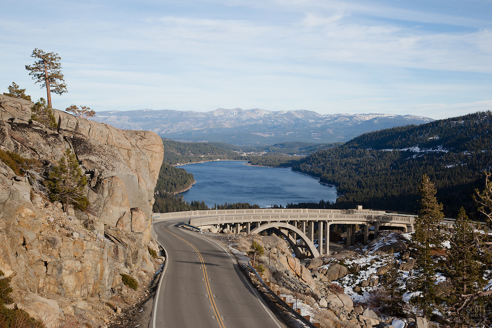 """Road to Rainbow Bridge"" - Photograph of the road leading to Rainbow Bridge, also know as Donner Memorial Bridge, above Donner Lake and Truckee, CA."