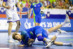 Tadej Mazej of Slovenia during handball match between National teams of Slovenia and Iceland in Main Round of 2018 EHF U20 Men's European Championship, on July 25, 2018 in Arena Zlatorog, Celje, Slovenia. Photo by Urban Urbanc / Sportida
