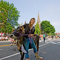 The Strolling of the Heiffers Parade in Brattleboro, Vermont.