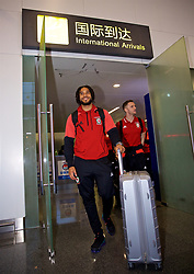 NANNING, CHINA - Monday, March 19, 2018: Wales' captain Ashley Williams arrives at Nanning International Airport for the 2018 Gree China Cup International Football Championship. (Pic by David Rawcliffe/Propaganda)
