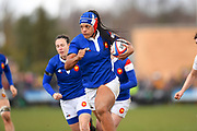 French player N'diaye Safi scores a try in the second half during the Women's 6 Nations match between England Women and France Women at the Keepmoat Stadium, Doncaster, England on 10 February 2019.