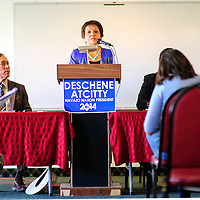 090214  Adron Gardner<br /> <br /> Fannie Lowe Atcitty introduces herself as the running mate to Navajo Nation Presidential candidate Chris Deshchene at the Navajoland Inn &amp; Suites in St. Michaels Tuesday.