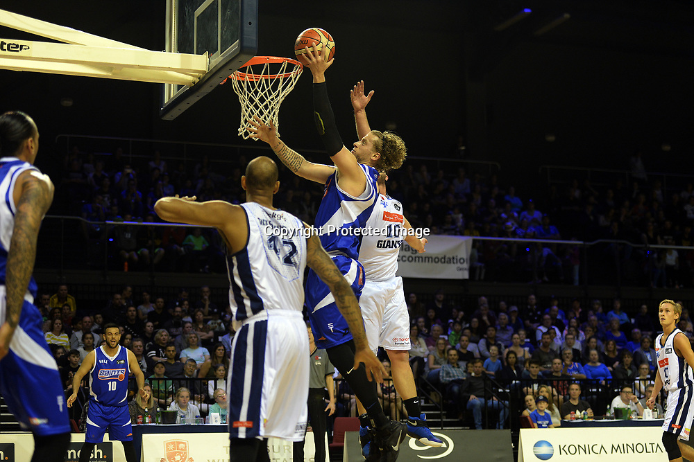 Wellington Saints' Joshua Duinker goes for a shoot during the NBL match between Wellington Saints v Nelson Giants, TSB Arena, Tuesday 25th April 2017. Copyright Photo: Raghavan Venugopal / www.photosport.nz