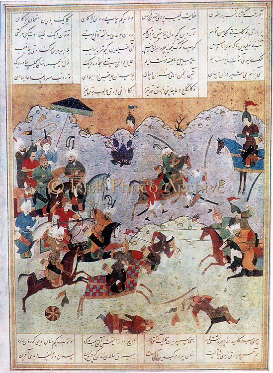 The romance and legend of Alexander the Great (356-323 BC) was recounted endlessly in Islamic art and literature from Southern Russia to the gates of India, often under the name of Iskandar.  Battle between Alexander and the Persian king Darius III. After a Persian manuscript.