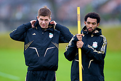LIVERPOOL, ENGLAND - Tuesday, September 30, 2008: Liverpool's Jermaine Pennant and captain Steven Gerrard MBE training at Melwood ahead of the UEFA Champions League Group D match against PSV Eindhoven. (Photo by David Rawcliffe/Propaganda)