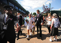 Tennis - 2019 Wimbledon Championships - Week One, Wednesday (Day Three)<br /> <br /> Men's singles, 2nd Round: Ivo Karlovic (CRO) v Thomas Fabbiano (ITA)<br /> <br /> Thomas Fabbiano is escorted off the court after winning the match on  Court 14<br /> <br /> COLORSPORT/ANDREW COWIE