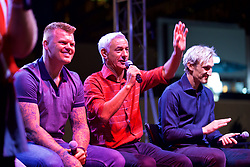 CHARLOTTE, USA - Saturday, July 21, 2018: Liverpool FC legends John Arne Riise and Ian Rush on stage at a Legends show at the Rooftop 102 in the Epicentre Charlotte ahead of a preseason International Champions Cup match between Borussia Dortmund and Liverpool FC in Charlotte. (Pic by David Rawcliffe/Propaganda)
