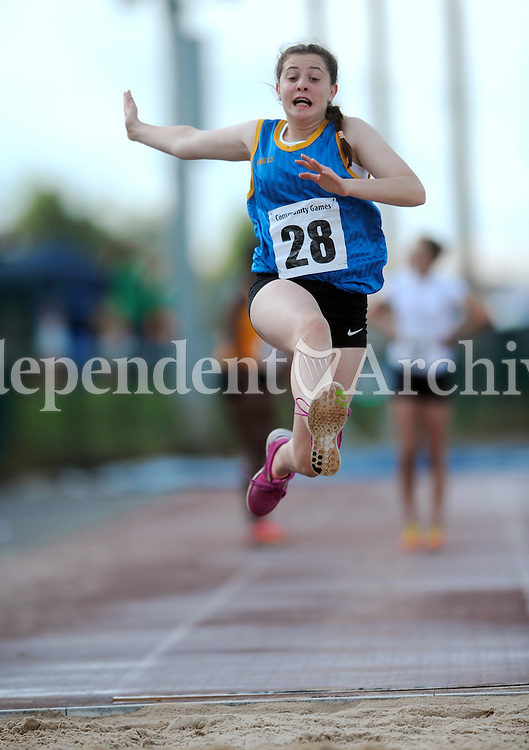 20 Aug 2016:  Jill O'Toole, from Wicklow.  Girls Long Jump U14.  2016 Community Games National Festival 2016.  Athlone Institute of Technology, Athlone, Co. Westmeath. Picture: Caroline Quinn