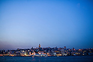 View of Beyoglu with Galata Tower as scene from a ferry boat on the Bosphorus Sea, Istanbul, Turkey