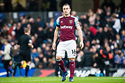 West Ham  (16) Mark Noble (captain) during the Premier League match between Chelsea and West Ham United at Stamford Bridge, London, England on 8 April 2018. Picture by Sebastian Frej.