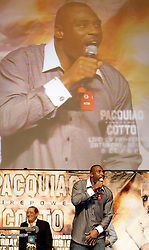 Nov 13, 2009; Las Vegas, NV, USA; New York Giants running back Brandon Jacobs gets the crowd ready for the Manny Pacquiao and Miguel Cotto weigh-in at the MGM Grand Garden Arena in Las Vegas, Nevada.  Mandatory Credit: Ed Mulholland