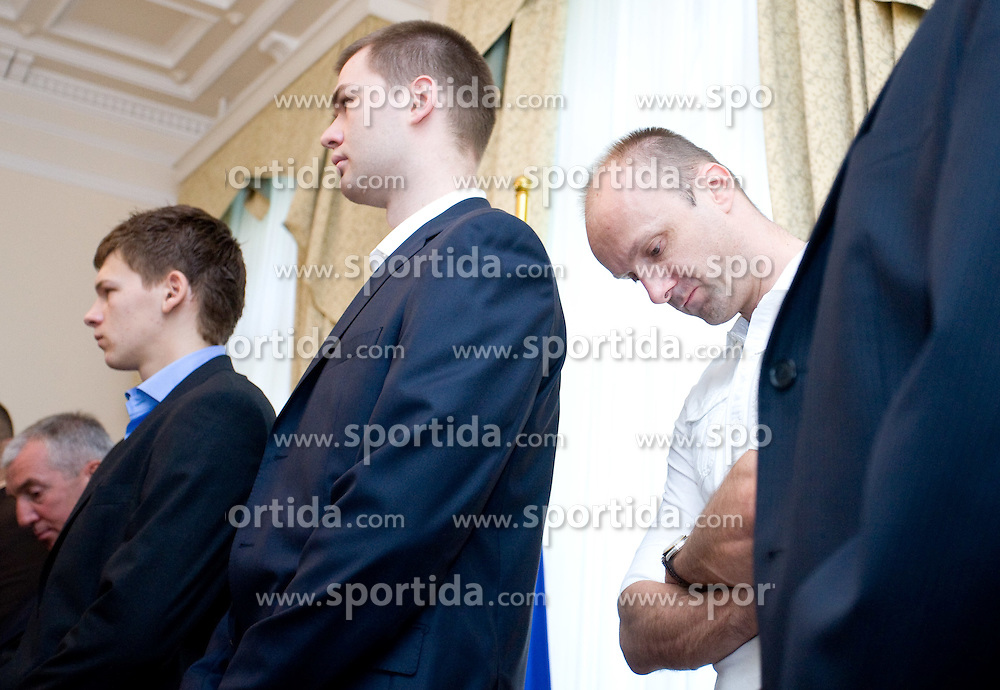 Jaka Klobucar, Uros Slokar and Jure Zdovc of Slovenian basketball national team after Eurobasket 2009 at reception at president of Slovenia dr. Danilo Türk,  on September 28, 2009, in Presernova 8, Ljubljana, Slovenia.  (Photo by Vid Ponikvar / Sportida)