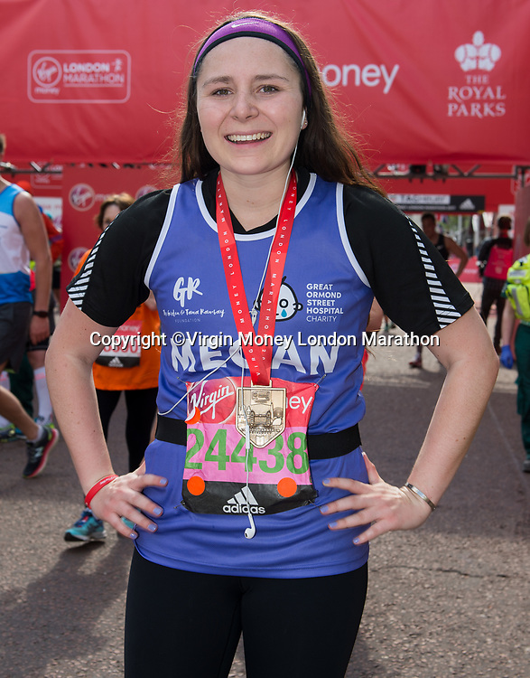 Megan Ramsay after finishing the race. The Virgin Money London Marathon, 23rd April 2017.<br /> <br /> Photo: Joanne Davidson for Virgin Money London Marathon<br /> <br /> For further information: media@londonmarathonevents.co.uk