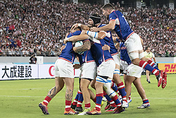 September 20, 2019, Tokyo, Japan: Russia Team players celebrate after Kirill Golosnitskiy scored a try during the Rugby World Cup 2019 Pool A match-up between Japan and Russia at Tokyo Stadium. Japan defeats Russia 30-10. (Credit Image: © Rodrigo Reyes Marin/ZUMA Wire)
