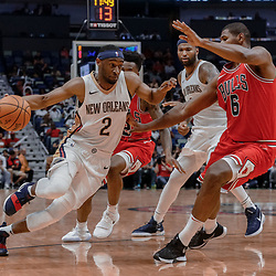 Oct 3, 2017; New Orleans, LA, USA; New Orleans Pelicans guard Ian Clark (2) drives past Chicago Bulls forward Cristiano Felicio (6) during the second half of a NBA preseason game at the Smoothie King Center. The Bulls defeated the Pelicans 113-109. Mandatory Credit: Derick E. Hingle-USA TODAY Sports