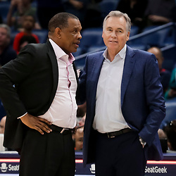 Mar 24, 2019; New Orleans, LA, USA; New Orleans Pelicans head coach Alvin Gentry and Houston Rockets head coach Mike D'Antoni talk after a game at the Smoothie King Center. Mandatory Credit: Derick E. Hingle-USA TODAY Sports